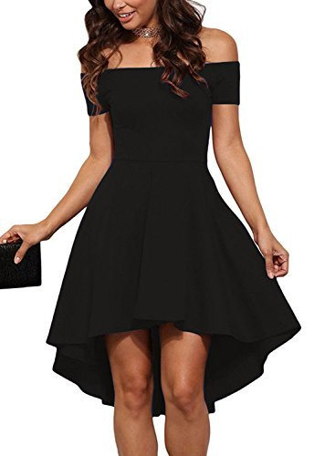 HUSKARY Women Off Shoulder Sleeve High Low Flared Swing Party Cocktail Dress (X-Large, Black)