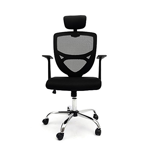 Ergonomic Mesh Office Chair High Back Swivel Computer Desk Task Chairs with Adjustable Backrest, Headrest and Seat Height for Home Office Conference Room 8159BK (Black) by saneki