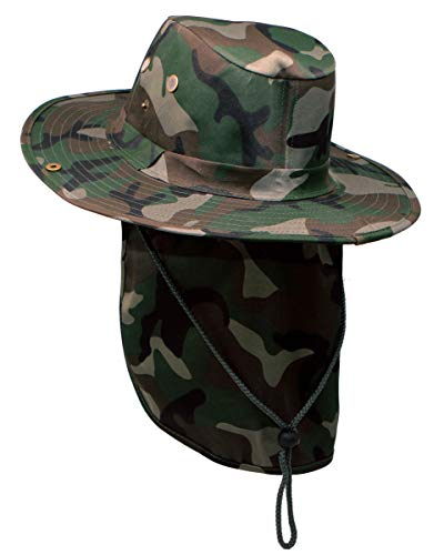 RufnTop Bora Booney Sun Hat for Outdoor Hiking, Safari, Camping, Hunting, Garden Wide Brim Cap with UPF 50+ Protection(Dark Green Camouflage M) ()