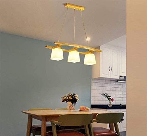 Pendant Lamp Wooden Chandelier with Glass Shade Dining Room Lamps 3 Flammig for Dining Table Living Room Bedroom Kitchen
