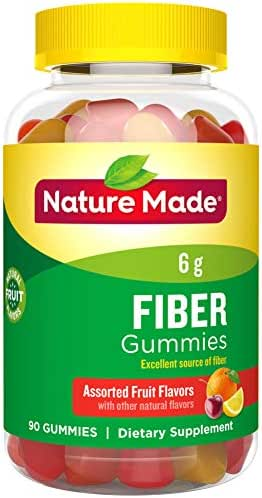 Nature Made Fiber 6 g Gummies, 90 Count for Digestive Health† (Packaging May Vary)