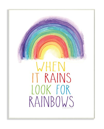 Stupell Home Décor Look for Rainbows Wall Plaque Art, 10 x 0.5 x 15, Proudly Made in USA ()