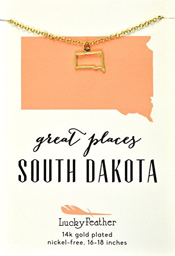 """Lucky Feather South Dakota Shaped State Necklace, 14K Gold-Dipped Pendant on Adjustable 16""""-18"""" Chain"""