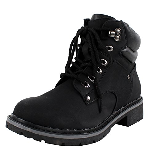 Forever Broadway-5 Women's Military Combat Lace Up Padded Cuff Martin Boot Slip-Resistant Hiking Outdoor Work Shoes Ankle Short Boot,Color:Black, Size:9