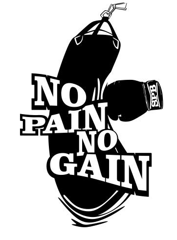 No Pain No Gain Boxing Gloves Punch Bag Mma Workout Fitness