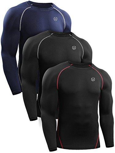 Neleus Men's 3 Pack Workout Compression Long Sleeve Shirts,5035,Black(Red),Black(Grey),Navy Blue,US M,EU L