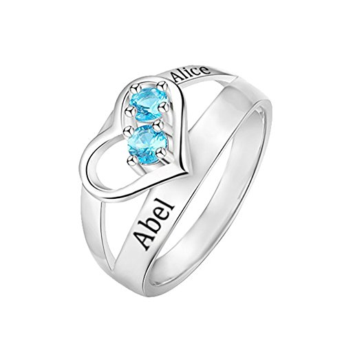 Shiny Alice Personalized Infinity Mothers Ring with 2 Round Simulated Birthstones Engagement Promise Rings for Women(Silver 7)
