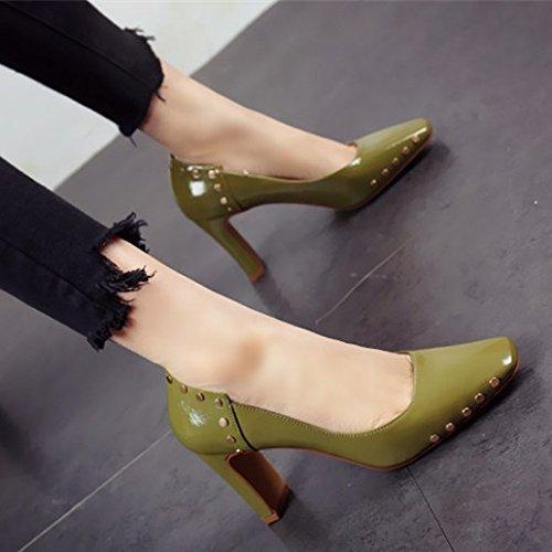 estilo europeo fiesta metal zapatos Zapatos áspero Dama Shoes remaches de personalidad c moda Los única Zapatos superficial FLYRCX Heel del txUYXx6q