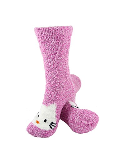 Super Soft Warm Cute Animal Non-Slip Fuzzy Fluffy Crew Winter Home Socks, Pink Kitty - 3 Pairs (Adults For Clothes Hello Kitty)