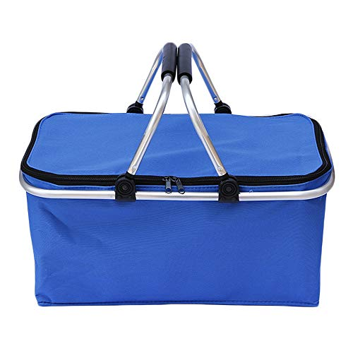 Large Insulated Picnic Basket Cooler Bag Reusable Lunch Bag Folding Collapsible Cooler Basket 30L for Camping Sports Beach Travel Blue