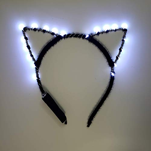 It's Lit Designs Premium Light Up LED Cat Ear Headband (White)