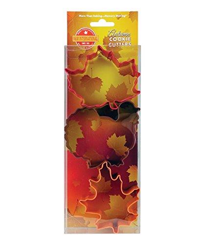 R&M International 5152 Autumn Cookie Cutters, Maple Leaf, Turkey, Oak Leaf, 3-Piece Set ()