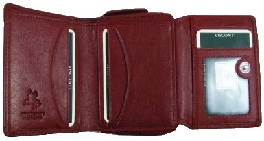 Visconti Heritage -30 Soft and Light Small Leather Trifold Wallet (Red)