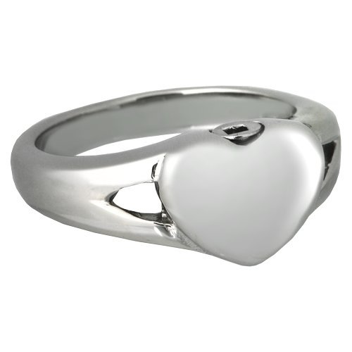 11 Memorial Gallery SSR206 Size 11 Premium Stainless Steel Simple Heart Ring Cremation Pet Jewelry, Size 11