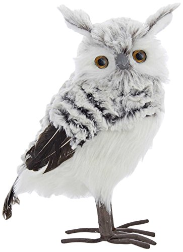 Gray and White Fluffy Owl Christmas Tree Topper