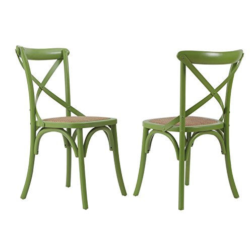Joveco Elm Wood X Back Dining Chair with Woven Rattan Seat, Light Green, Modern Vintage Style (Set of 2) Wholesale Price Available - 2 Cane Back Chairs