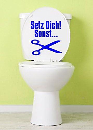 Dinger-Design Aufkleber Toilette Klo Toilettendeckel Setz Dich sonst 25 x 23 cm Blau