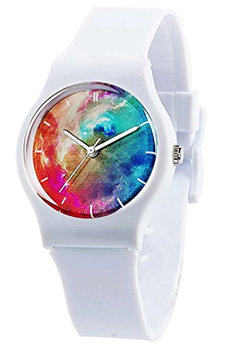 Kids Boys Girls Watches,Resin Super Soft Band Student Age 11-15 7-10 Wristwatches for Teenagers Young Girls Boys Nebula Starry(White)