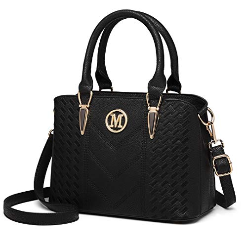 494261bb20bc2 Miss Lulu Women Top Handle Bag Woven pattern and Chevron Shoulder Bag Front  M Logo Handbags