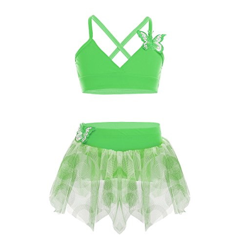 CHICTRY Kids Girls 2-Piece Butterfly Applique Tutu Skirt