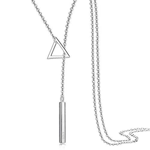 Chain Triangle Necklace - 925 Sterling Silver Long Sweater Chain Triangle Simple Polished Pendant Necklace Chain 16