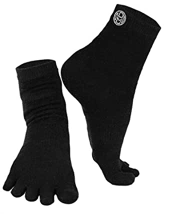 Mato & Hash Crew Length 5 Toe Sport Performance Socks Black S/M