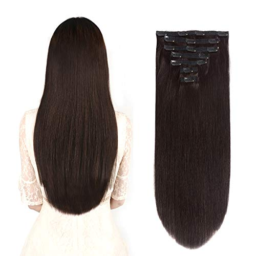 Nymph Human Hair 14 Clip in Hair Extensions Clip On Dark Brown(#2) 110 Grams 7Pcs Thick To End 100% Remy Straight Soft Silky Human Hair Full Head for Women