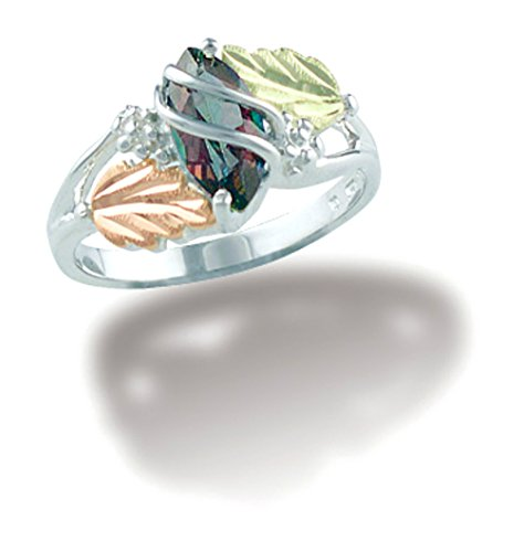 Marquise Mystic Fire Topaz Ring, Sterling Silver, 12k Green and Rose Gold Black Hills Gold Motif, Size 8 -