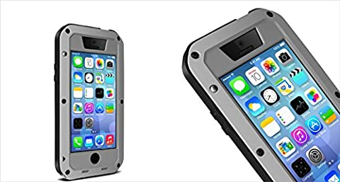 Harsel for iphone 5c Shockproof/Dust proof/Weatherproof Full-body Waterproof Military Heavy Protection Hard Aluminum Glass Metal Water Resistant Case Cover TK iphone (Aluminum Metal Iphone 5c Case)