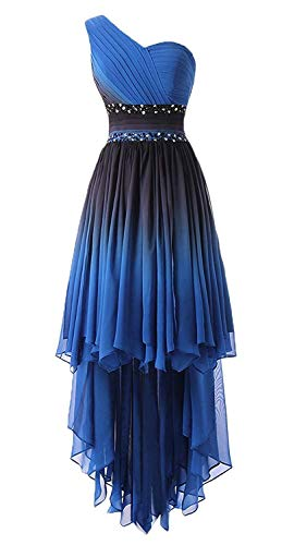 - HEAR Women's Ombre One Shoulder Crystals Homecoming Gown Hi-Lo Gradient Chiffon Prom Dresses Hear193 Blue7 18