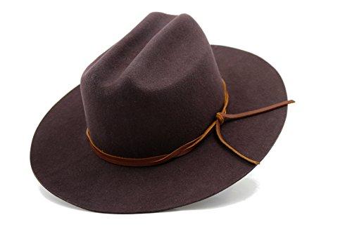 AccessHeadwear Alpas Men's Conner Chocolate 100% Wool Felt Cattleman Flat Brim Cowboy (Flat Brim Wool Felt Hat)