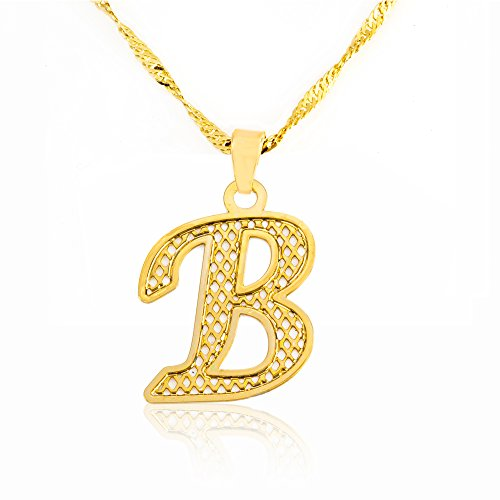 Beautiful Initial Pendant Necklace 24k Gold Plated Personalized Charm Choose Your Letter (B) - Initial Heart Charm Letter