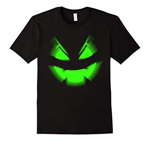 Mens Scary Halloween Pumpkin T-Shirt Neon Green Acid Glow 3D FX Large (Really Scary Halloween Pumpkin Faces)