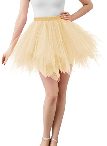 BIFINI Adult Women 80's Plus Size Tutu Skirt Layered Tulle Petticoat Halloween Tutu Champagne -