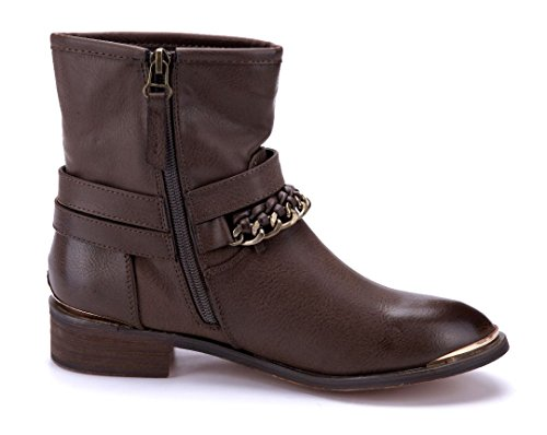 Schuhtempel24 Damen Schuhe Klassische Stiefeletten Stiefel Boots Khaki Blockabsatz Schnalle/Zierkette 3 cm