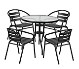 Office Home Furniture Premium 31.5'' Round Glass Metal Table with 4 Black Metal Aluminum Slat Stack Chairs