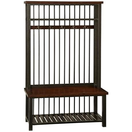 Unique Style Hall Tree Frame In A Hammered Metal Look Solid Wood Slatted Bottom Shelf Five Double Hooked Coat Rings Constructed Of Poplar Solids And Mahogany Veneers