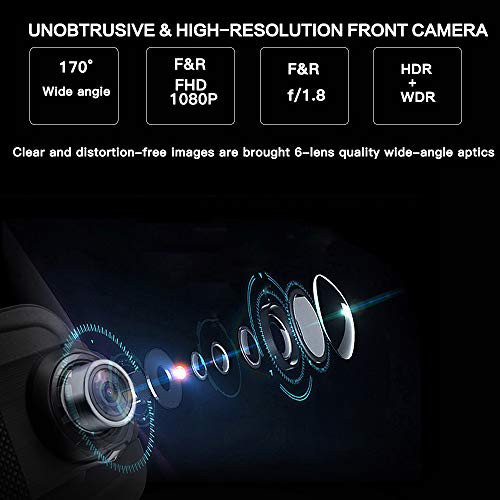 10 Inch Mirror Dash Cam Full Touch Screen, Poaeaon Backup Camera Stream Media, 1080P 170° Front and 1080P 150° Wide Angle Full HD Rear View Camera with G-Sensor, Night Vision (Free 32GB SD Card) by Poaeaon (Image #3)