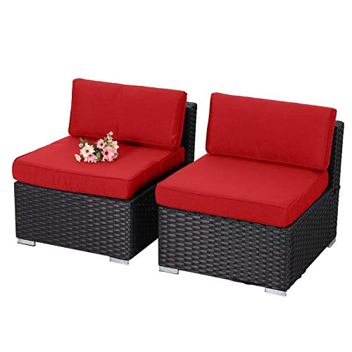 PHI VILLA Outdoor Sectional Sofa Rattan Patio Furniture Set Loveseat with Upgrade Seat Cushions(Red,2-Piece 2)