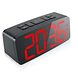 Digital Alarm Clock, 6.3 Large LED Display Digital Alarm Clock with Big Red Number,6 Level Adjustable Brightness Dimmer and Snooze, Simple LED Clock with Dual Alarm, 12/24Hour, Powered by AC Adapter
