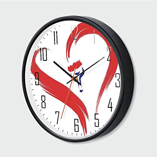 Fashion Home Wall Clock Battery Operated,Brush Drawing of a Heart Symbol Mutual Special Emotions Positive Hum,Red Blue White,10 Inch,Modern Style for Living Room/Office Battery Operated (Who Christmas Special Doctor Nz)