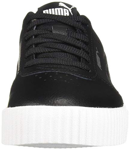 PUMA Women's Carina Sneaker, Black White Silver, 11 M US