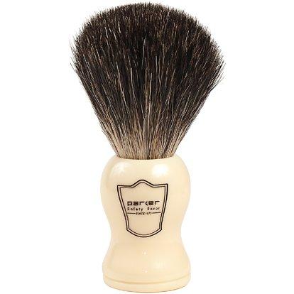 Parker Safety Razor 100% Premium Black Badger Bristle Shave Brush with Ivory Handle - Brush Stand Included (Best Value Badger Shaving Brush)