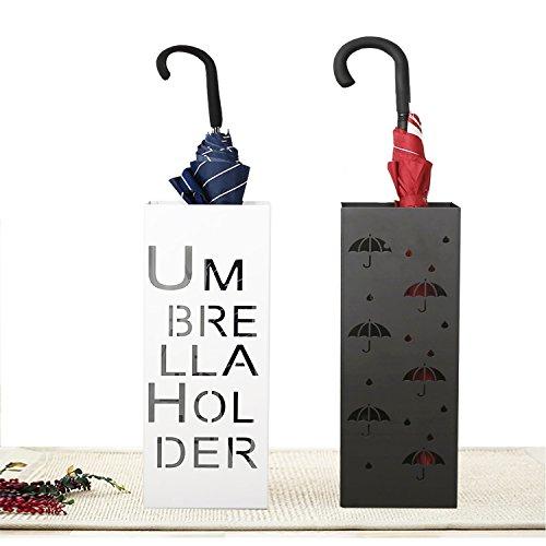 Reliancer 21.65'' Metal Umbrella Stand Rack Umbrella Holder Indoor Square Free Standing Entryway Umbrella Walking Canes Organizer Home Office Decor w/ Two Hooks