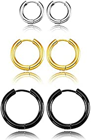 316L Surgical Stainless Steel Huggie Hoop Earrings,Safe Vacuum Plated Cartilage Earring Set for Women Men Girl