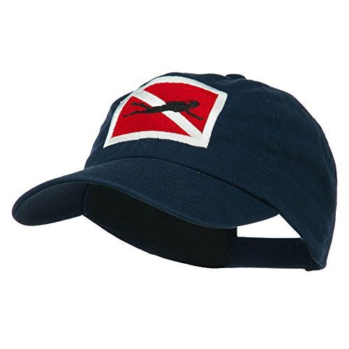 Hat Diver (E4hats Scuba Diver Down Embroidered Low Profile Washed Cap - Navy OSFM)