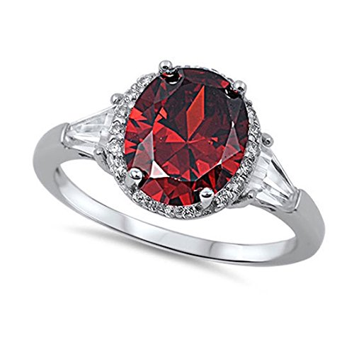 Blue Apple Co. Cocktail Halo Wedding Ring Oval Cut Deep Red Simulated Garnet Round Baguette CZ 925 Sterling Silver ()