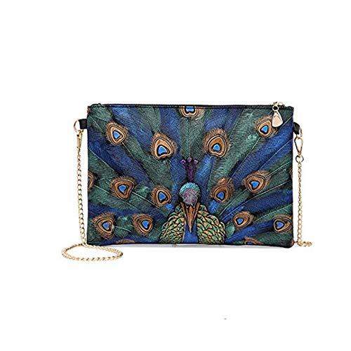 Women's Oversized Envelope Clutch Peacock Painting Crossbody Evening Bag Shoulder ()