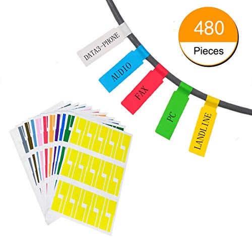 (Hraindrop 16 Sheets Self-Adhesive Cable Label - A4 Size Waterproof Tear Resistant Durable Labels - Handwritten or Works with Laser Printer (480 Labels,8 Assorted Colors))