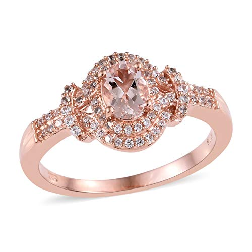 Promise Ring 925 Sterling Silver Vermeil Rose Gold Morganite Zircon Jewelry for Women Size 9 Ct 0.9 (9k Rose Gold Pendant)